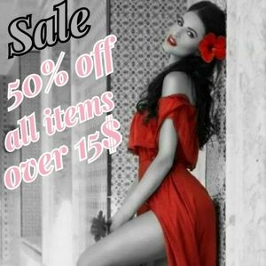 50% off All Items Over 15$